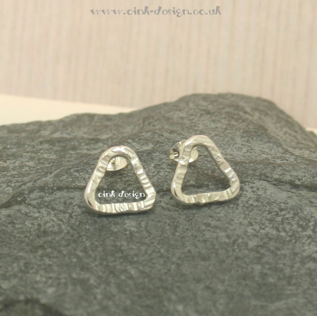 Sterling silver textured triangle stud earrings