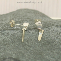 Sterling silver cube stud earrings with a hanging flat spike