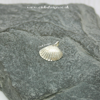 Small Fine Silver Cockle Sea Shell Charm