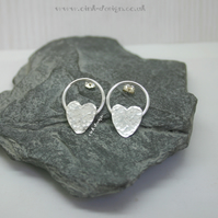 Sterling silver textured circular and heart stud earrings