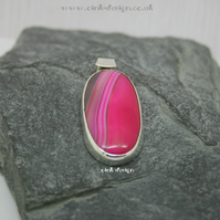 Pink Banded Agate Sterling Silver Pendant