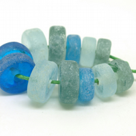 Blue & Green Glass Beads - SRA Lampwork Bead Set
