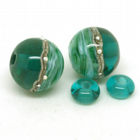 Green Glass Bead Pair - Handmade Lampwork Beads SRA