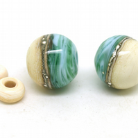 Teal, Blue and Ivory Glass Bead Pair - Handmade Lampwork Beads SRA