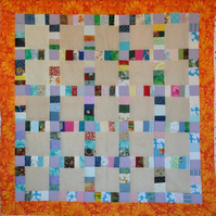 Patchwork Scrap Lap Quilt Surrounded squares
