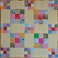 Patchwork Scrap Lap Quilt large and small quares