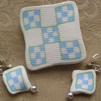 Patchwork  brooch with ear rings to match