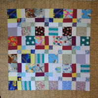 Patchwork Lap Quilt Scrap quarter nine patch