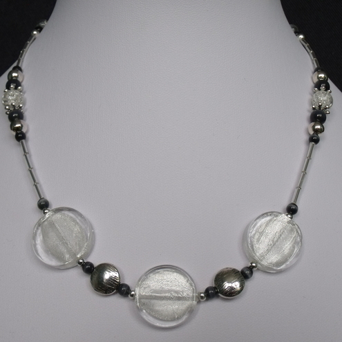 Pay it Forward - Gorgeous clear glass and hematite colour handmade necklace.