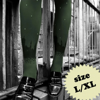 SALE: Large/Extra Large Khaki Skyline Tights with Swarovski Crystals