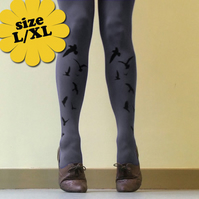 Large/Extra Large Grey Flocking Birds Tights