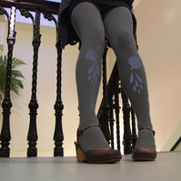 Tea Party Tights in Grey and Baby Blue