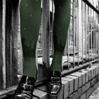 Khaki Skyline Tights with Swarovski Crystals
