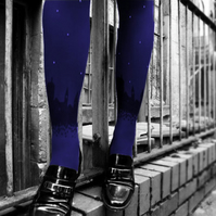 Blue Skyline Tights with Swarovski Crystal Stars
