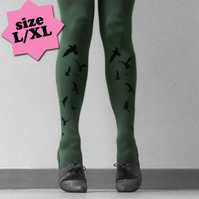 Large/Extra Large Khaki Flocking Birds Tights