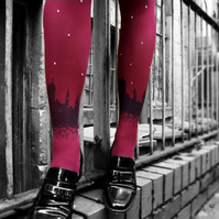Maroon Skyline Tights with Swarovski Crystal Stars