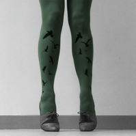 Khaki Flocking Birds Tights