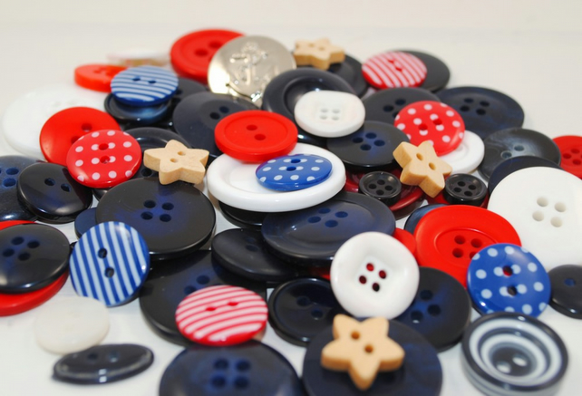 Mixed Button Bag - NAUTICAL - 50g (2oz) Bag of Pretty Navy, Red & White  Buttons