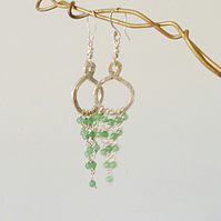 Sterling Silver Chandelier Earrings with Aventurine Beading