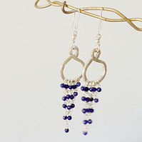 Sterling Silver Chandelier Earrings with Lapis Lazuli  Beading