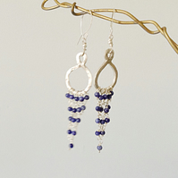 Sterling Silver Chandelier Earrings with Sodalite Beading