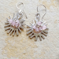 Sterling Silver 'Sun' Earrings with Rose Quartz Beading