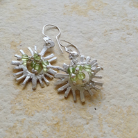 Sterling Silver 'Sun' Earrings with Peridot Beading