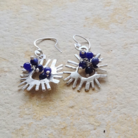 Sterling Silver 'Sun' Earrings with Lapis Lazuli Beading