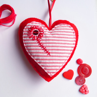 SALE Heart Decoration with Hand Embroidered Flower