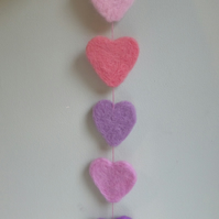 SALE- Felted Hearts Garland- pastel shades