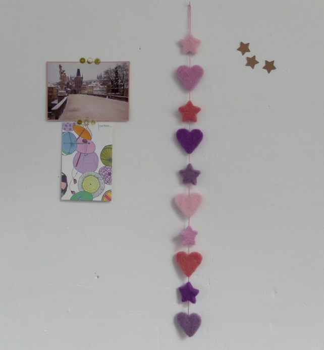 SALE- Needle Felted Garland- Hearts and Stars