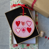 Hoop Framed Hand Embroidery with Hearts (hoop art)