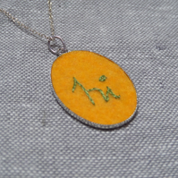SALE- Hand Embroidered 'Hi' Pendant  Necklace