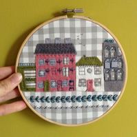 Little Town Street Embroidered Hoop Art Wall Decoration