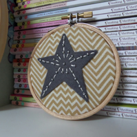 Tiny Embroidered Star Hoop Art