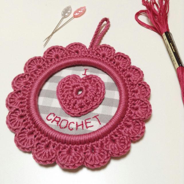 I Love Crochet Wall Decoration