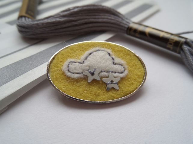 Felt Cloud Badge- Hand Embroidered and embellished.