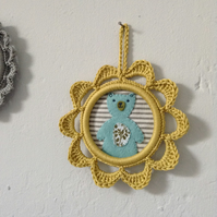 Aqua Teddy Wall Decoration in Yellow Crochet Picture Frame