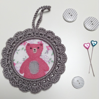 Pink Teddy Wall Decoration Picture in Crochet Frame