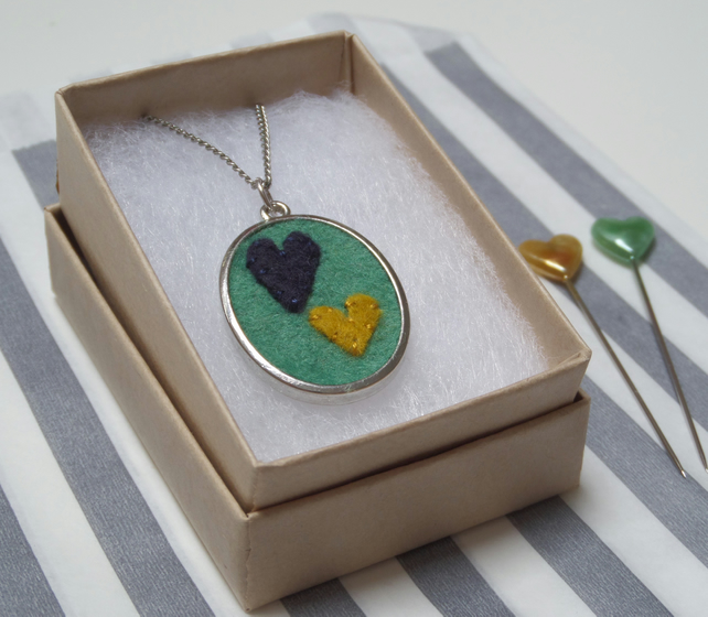 'With Love' Hand Stitched Pendant - oval