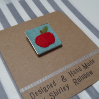 Red Apple Gift for Teacher Hand Stitched Badge