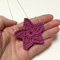 Bright Star Crochet Necklace- Plum Sorbet