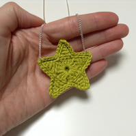 Bright Star Crochet Necklace- Lime