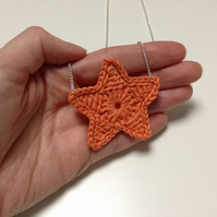 Bright Star Crochet Necklace- Satsuma