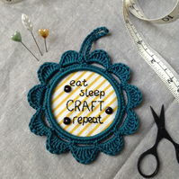 'Eat, sleep, craft, repeat' Hand Embroidered Wall Decoration
