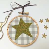 Mini Embroidered Star in Green Wall Decoration Hoop Art