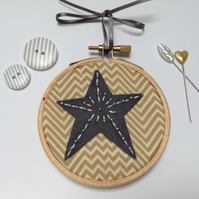 Embroidered Star Hoop Art Wall Decoration