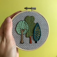 Tiny Forest Embroidery Hoop Art