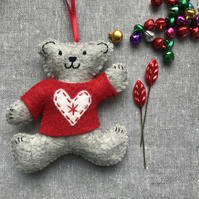 Teddy Christmas Tree Decoration - Loveheart Jumper