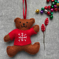 Teddy Bear Christmas Tree Decoration - red jumper